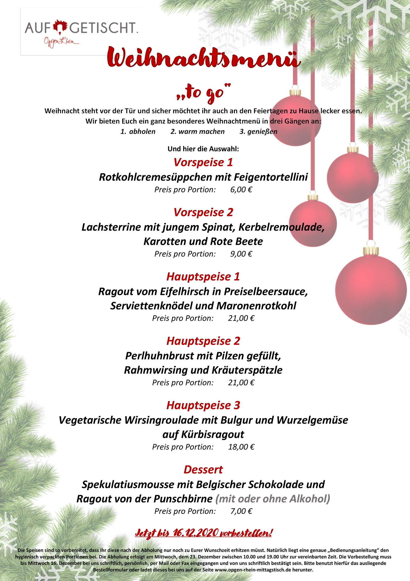 Das Menü zu Weihnachten